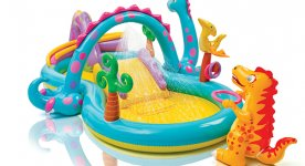 Детские надувные бассейны с горкой. Фото бассейнов для детей
